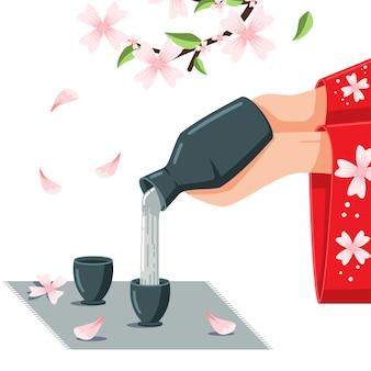 Ilustración de dibujos animados de sake en la flor de cerezo.