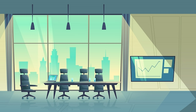 Ilustración de dibujos animados de sala de conferencias moderna, sala de reuniones y entrenamientos de negocios
