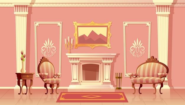 Ilustración de dibujos animados de la sala de estar de lujo con chimenea, salón de baile o pasillo con pilastras