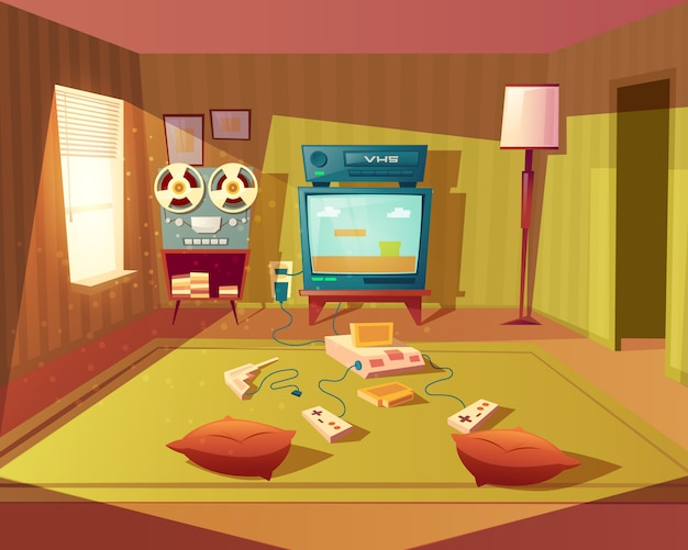 Ilustración de dibujos animados de una sala de juegos vacía para niños con consola de 8 bits para juegos