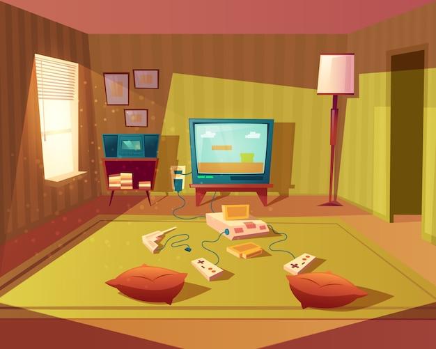 Ilustración de dibujos animados de sala de juegos vacía para niños con consola de juegos, pantalla de televisión y joystick