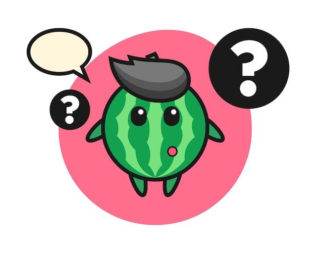Ilustración de dibujos animados de sandía con el signo de interrogación