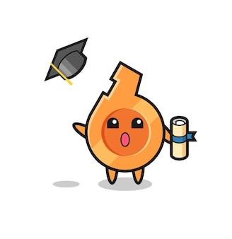 Ilustración de dibujos animados de silbato lanzando el sombrero en la graduación, diseño lindo