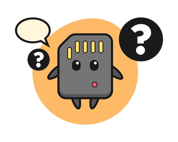 Ilustración de dibujos animados de la tarjeta sd con el signo de interrogación, diseño de estilo lindo para la camiseta