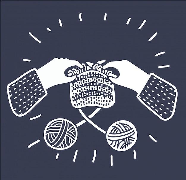 Ilustración de dibujos animados de tejer manos humanas con agujas. dos madejas de hilo de lana. taller, lecciones, hobbie, artesanía. concepto gráfico de estilo moderno de contorno blanco y negro sobre fondo oscuro.