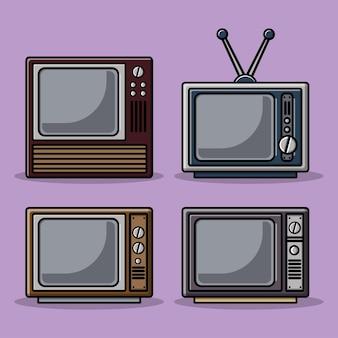 Ilustración de dibujos animados de televisor vintage