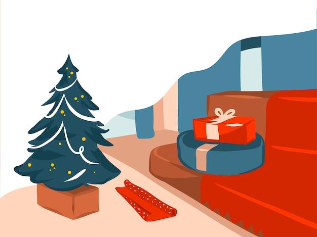 Ilustración de dibujos animados de tiempo de feliz navidad y próspero año nuevo