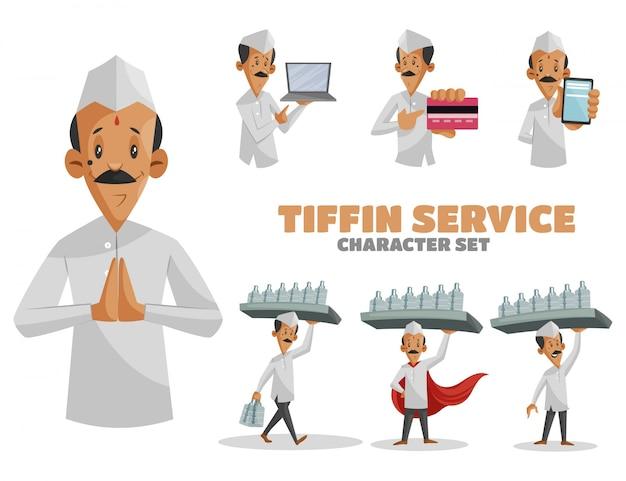 Ilustración de dibujos animados de tiffin service character set