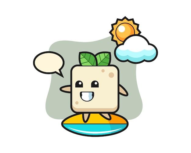 Ilustración de dibujos animados de tofu haciendo surf en la playa, diseño de estilo lindo para camiseta