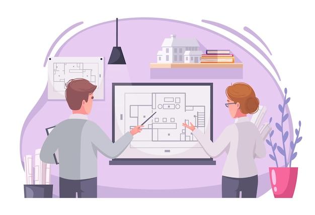 Ilustración de dibujos animados de trabajo de arquitecto