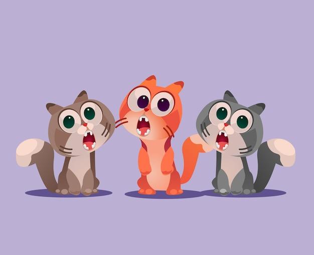 Ilustración de dibujos animados de tres gatos cantan canción