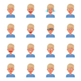 Ilustración de dibujos animados de vector de chico de emoción. establecer icono de triste, reír, llorar emoción. reír y llorar chico.