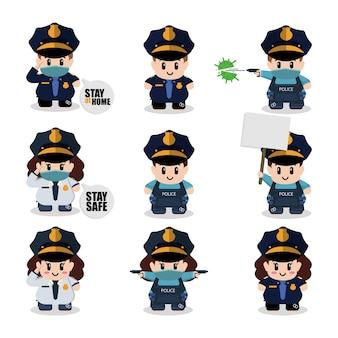 Ilustración de dibujos animados de vector conjunto de caracteres de policías lindos