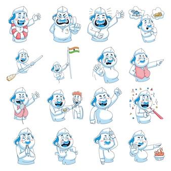 Ilustración de dibujos animados de vector de conjunto político hombre.
