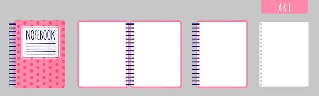 Ilustración de dibujos animados de vector con cuaderno de arte, cuaderno abierto y hojas en blanco sobre fondo blanco. de vuelta a la escuela