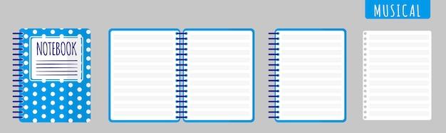 Ilustración de dibujos animados de vector con cuaderno musical, cuaderno abierto y hojas en blanco sobre fondo blanco.