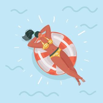 Ilustración de dibujos animados vector de hermosa niña yacía en un anillo de goma.
