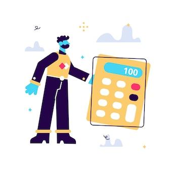 Ilustración de dibujos animados de vector de hombre pequeño de pie junto a la calculadora grande sobre fondo blanco.