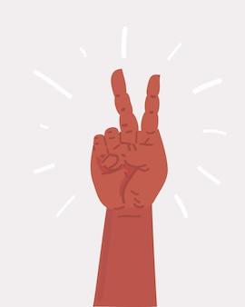 Ilustración de dibujos animados de vector de la mano de la victoria. mano que muestra el icono de dos dedos. objeto sobre fondo blanco.