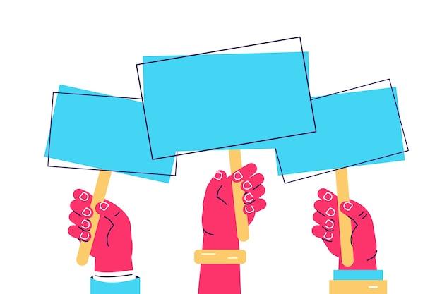 Ilustración de dibujos animados de vector de manos sosteniendo la placa