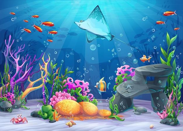 Ilustración de dibujos animados de vector mundo submarino con divertidos personajes calambre-peces rodeados de coral, arrecife, roca, pescado, cangrejo, concha