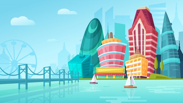 Ilustración de dibujos animados de vector de un paisaje urbano con grandes edificios modernos cerca del puente con yates.