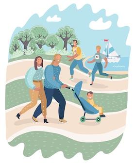 Ilustración de dibujos animados de vector de personas que se relajan en la naturaleza en un hermoso parque urbano. familia caminando con niños, pareja corriendo y trotando. +