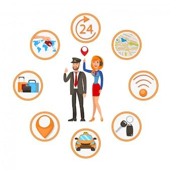 Ilustración de dibujos animados vector plano app app de taxi