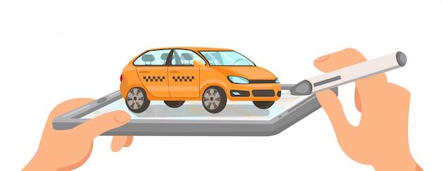 Ilustración de dibujos animados de vector plano prototipo de taxi