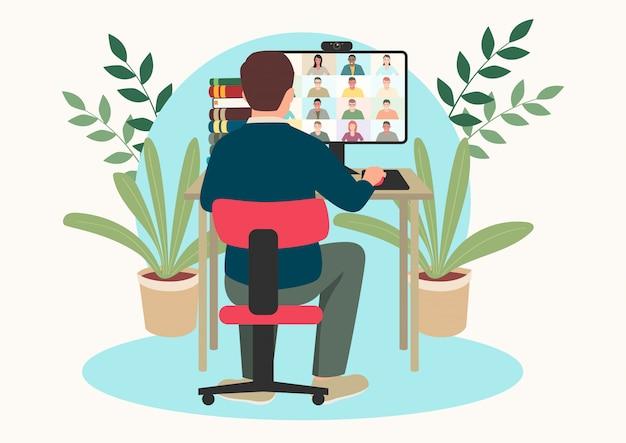 Ilustración de dibujos animados de vector plano simple de una figura de hombre que tiene videoconferencia con un grupo de personas
