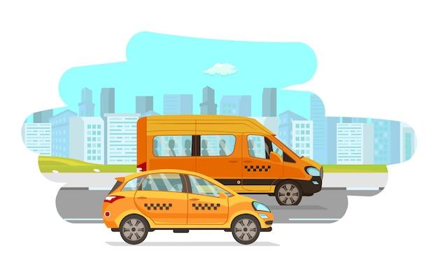 Ilustración de dibujos animados de vector plano de vehículos de taxi