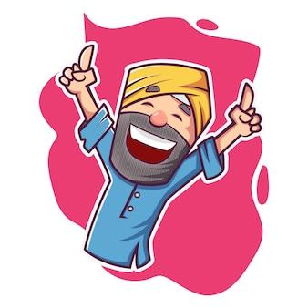 Ilustración de dibujos animados de vector de punjabi hombre bailando.