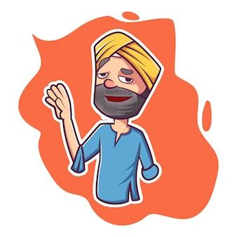 Ilustración de dibujos animados de vector de punjabi hombre.