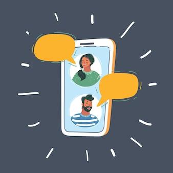 Ilustración de dibujos animados de vector de redes de mensajería de medios sociales. teléfono inteligente con burbuja de diálogo. la gente se enfrenta a avatar en una pantalla.