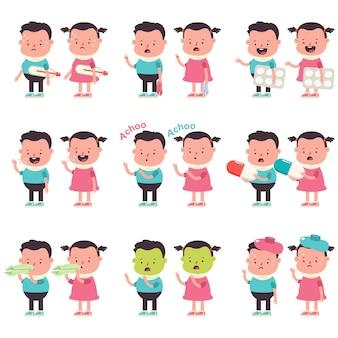 Ilustración de dibujos animados de vector de temporada de gripe con personajes de niño y niña aislado en un espacio en blanco.