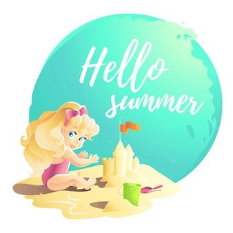 Ilustración de dibujos animados de verano. personaje de niña bebé sentado en la arena jugando con el castillo de arena. cubo, pala. ilustración infantil, portada de libro, publicidad. pancarta, cartel, impresión.