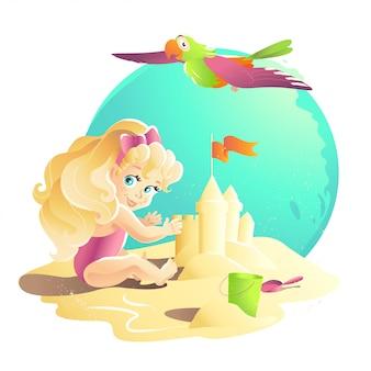 Ilustración de dibujos animados de verano. personaje de niña plana joven sentado en la arena jugando con el castillo de arena. cubo, pala. ilustración infantil, portada del libro, publicidad. banner, cartel, impresión.