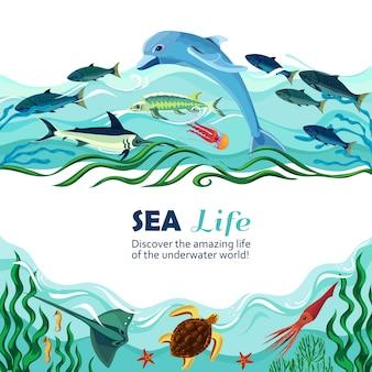 Ilustración de dibujos animados de vida submarina de mar