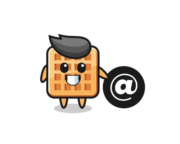 Ilustración de dibujos animados de waffle de pie junto al símbolo at, diseño lindo