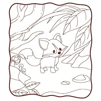 Ilustración de dibujos animados zorro caminando en el bosque para colorear libro o página para niños en blanco y negro