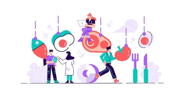 Ilustración de la dieta cetogénica concepto de personas pequeñas y planas con dieta baja en carbohidratos