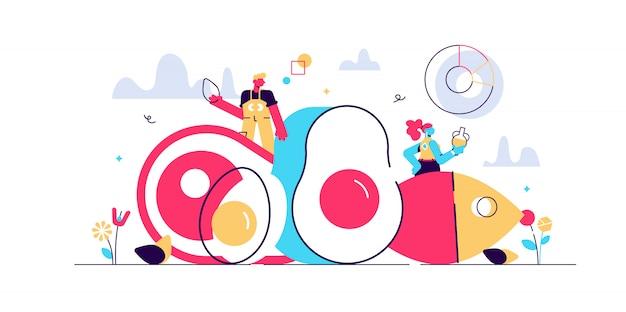 Ilustración de dieta keto. concepto de personas pequeñas con tabla de dieta baja en carbohidratos. estado cetogénico saludable para la depresión, el ayuno y la curación. nutrición cruda orgánica paleo comida como estilo de vida cavernícola.