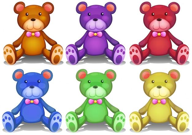Ilustración de diferentes colores osos de peluche