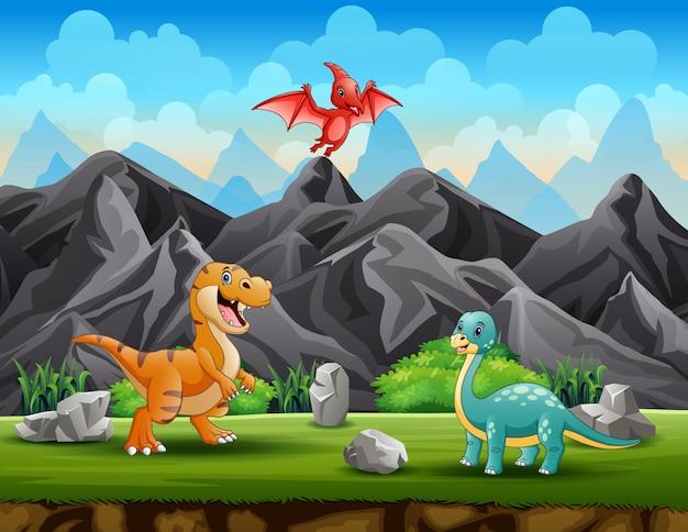 Ilustración de diferentes dinosaurios en el parque