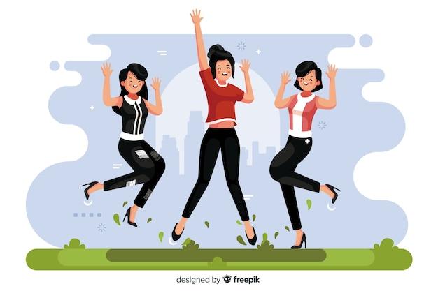 Ilustración de diferentes personas saltando juntas