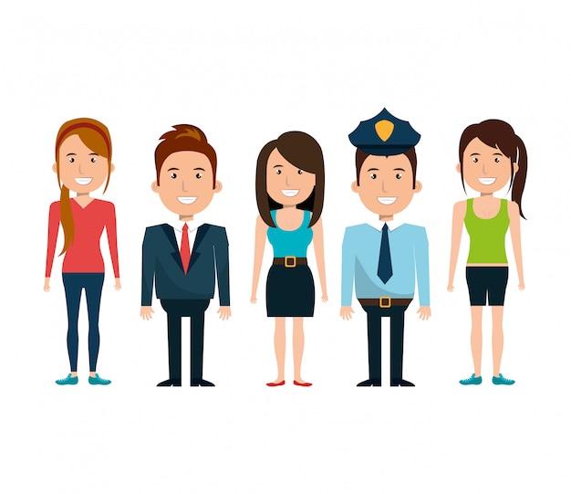 Ilustración de diferentes personas