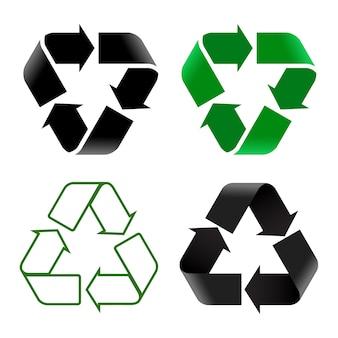 Ilustración de diferentes signos de reciclaje sobre fondo blanco.
