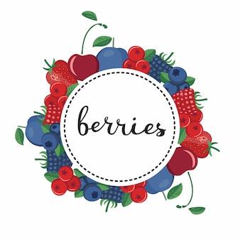 Ilustración de diferentes tipos de bayas ronda de letras palabra berries