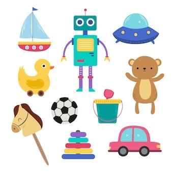 Ilustración de diferentes tipos de juguetes navideños