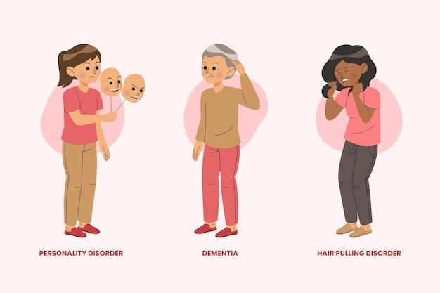 Ilustración de diferentes trastornos mentales.
